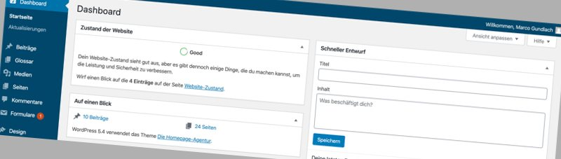 Wordpress 5.4 Dashboard